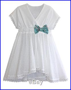 Swimsuit Coverup Kimono Dress in White Swiss Dot and Your Choice of Bow 2018 Collection (Size XS XL)