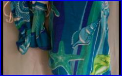 Swimsuit Wrap Coverup and Beach Bag with Seashells and Starfish