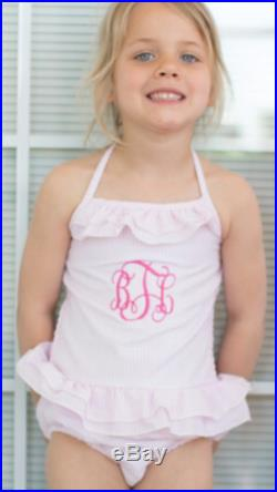 Swimsuit seersucker pink white monogrammed embroidered personalized