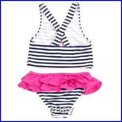 Toddler Girl's Personalized Hot Pink, Navy and White Prep Stripe Bathing Suit Set with Ruffle Bottoms (Children, Toddler, Monogrammed Swimsuit)