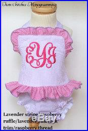 Toddler Girls 1-piece Lavender Stripe with raspberry ruffle and lavender trim Monogram Ruffle Swimsuit- (6m-7T)