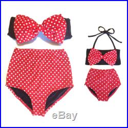 Toddler High Waisted Bikini. Mommy and Me matching swimsuit. Minnie inspired Retro Style Red White Polka Dots Bow Top and High Waist Bottoms