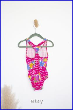 Toddler Pink Vintage Swimsuit 90s Style 90s Kids Toddler Swimsuit Toddler Summer Clothing Floral Swimsuit