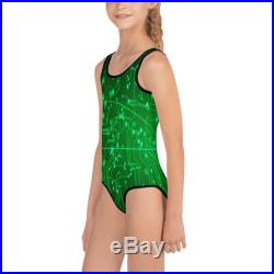 Toddler Swimsuit Mommy and Me Circuit Board Figure Skating Dance Costumes Girls Swimwear Gymnastics Leotard Bathing Suit One Piece Swimsuit