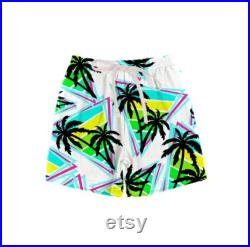 Toddler neon palm tree swim trunks Double lined