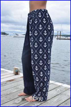 Towel Pants Anchor Pattern for Beach, Swimming, Bathing, Lounging, Vacation, Resortwear, Boys, Girls, Adults, Kids, Swimmers