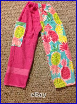 Towel Pants Pink Flamingo in a row with light pink background