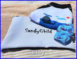 UPF 50 Long Sleeve Protection Shirt for Kids toddlers With a DRI-FIT Face Mask for Kids Sketching by Inkhead athens