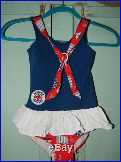 Vintage 1960's Beginner Swimmer Swimsuit, Childs Swimsuit, Size 6 Red, White and Blue, Sail Boats, Flags, White Ruffle Bottom, 50 Cotton