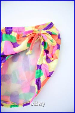 Vintage 1960's Little Girls' Children's Two-Piece Bikini Bathing Suit Multicolored Pink, Purple, Yellow and Green Pattern Print Swimsuit