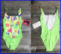 Vintage 1980's High Cut Zip Up Swimsuit , Neon 1980s Lime Green Floral Zip Up Swimwear , Deadstock Unworn With Tags, Small Medium