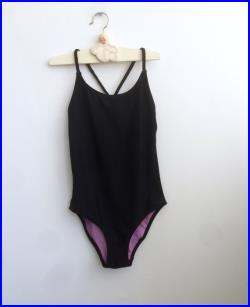 Vintage Girl's Swimsuit in Black and Purple 5-7 years, Scandinavian Retro Kid's Bathing Suit with Purple Beads on Braided Straps