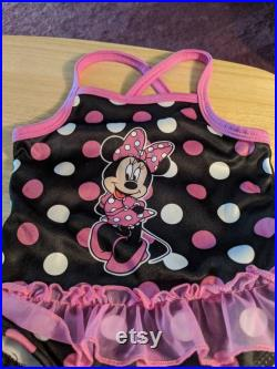 Vintage One Piece Minnie Mouse Black and Pink Swimsuit with Ruffles Size M18