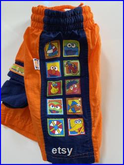 Vintage Sesame Street Swimming Trunks Bright Orange with Side Panel of Characters for Toddler Boy