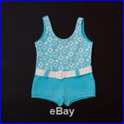 Vintage light- blue turquoise baby girls swimsuit with little belt buckle age 2