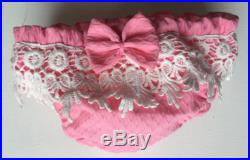 Vintage swimsuit, pink vintage piquet, cotton piquet costume with cotton lace scarves, sea swimsuit size 1, 2, 3 years old