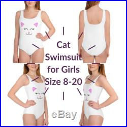 White Cat Face Youth One Piece Swimsuit Size 8-20