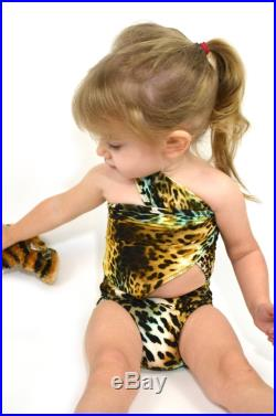 XS Bathing Suit Leopard Print Wrap-around Swimsuit Pre Teen Girls Swimwear Extra Small One Wrap Animal Print Body Suit Young Girls hisOpal
