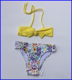 Yellow Bandeau Style Bikini with Floral Print Bottom (Childrens Size 8)
