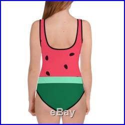 Youth Girls One-Piece Swimsuit Watermelon Summer Color Block Print, Sizes 8-20