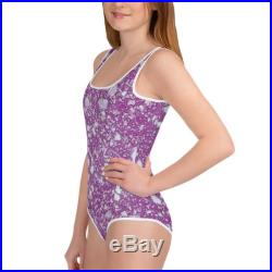 Youth Swimsuit One Piece All-Over Print Water Marbled Purple Silver Flecked