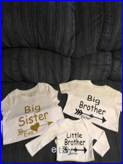 big sister little brother birth announcement set